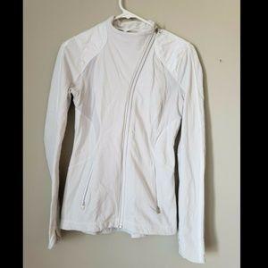 Lululemon White Jacket asymmetrical zipper sz ^